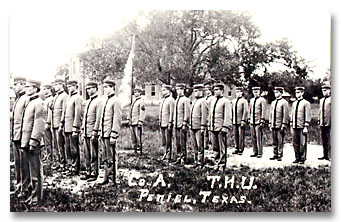 Military Drill at Texas Holiness University around the turn of the Century