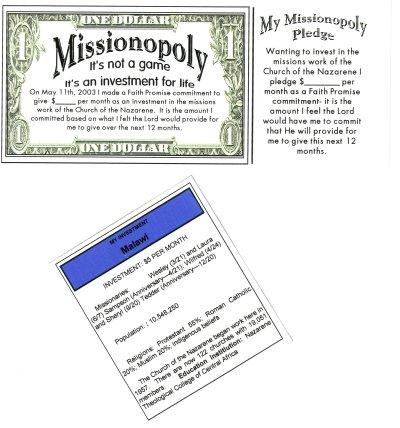 Faith Promise theme: Missionopoly
